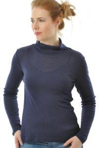 Alkena Rollkragenshirt Wolle Seide Nachtblau gerippt