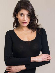 Merinowolle Seide Langarm Shirt schwarz von Artimaglia