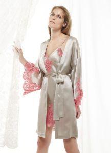Seide Morgenmantel Flora Lace in nebelgrau - das Nachthemd ist separat erhältlich