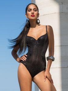 Badeanzug Glossy schwarz von Cotton Club Mare