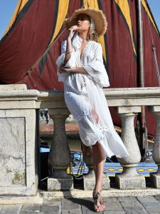 Baumwolle Mantel-Sommerkleid lang mit Spitze sahne-farben von Chiara Fiorini