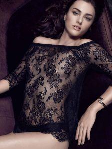Spitze Langarm Shirt mit Carmen Ausschnitt Inessa schwarz von Escora