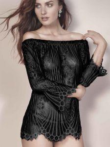 Spitze Langarm Shirt mit Carmen Ausschnitt Josephine schwarz von Escora