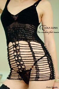 Häkelkleid Ariane schwarz von Lola Luna