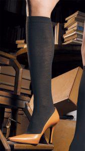 Merino-Wolle Kniestrumpf Jennifer anthrazit-grau
