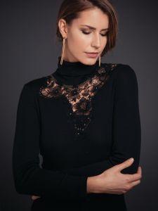 Merinowolle-Seide Rollkragen Shirt mit schweizer Spitze von Artimaglia schwarz