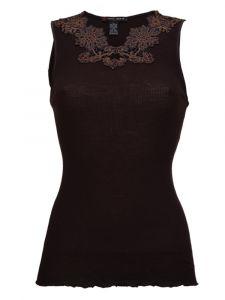 Merinowolle-Seide Shirt Top gerippt von Artimaglia schwarz