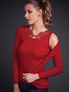 Merinowolle-Seide Shirt Top gerippt von Artimaglia rot - die Jacke ist nicht im Lieferumfang enthalten