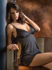 Unterkleid aus Microfaser Spitze Sasha schwarz von Cotton Club