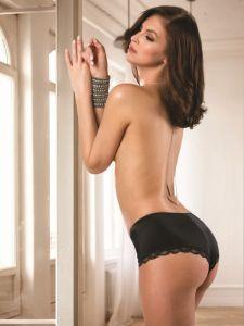 Microfaser Spitze Panty Slip Xenia schwarz von Cotton Club