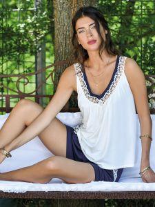 Sommer Pyjama Blu aus Viscose Jersey von Fiori di Chiara