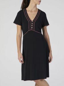 Modal Nachtkleid knielang schwarz-pink mit Ziernähten von Verdiani