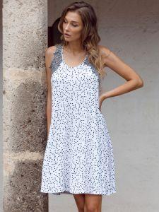 Modal Nachthemd Cecilia weiß dunkelblau gepunktet von Imec