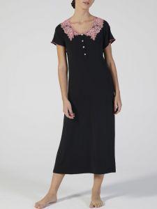 Modal Nachtkleid wadenlang schwarz rosa mit Spitze von Verdiani