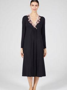 Modal Langarm Nachtkleid wadenlang schwarz-rosa von Verdiani Donna