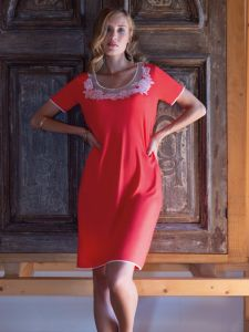 Modal Nachthemd kurz korallenrot von Chiara Fiorini