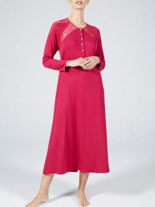 Modal Nachtkleid lang Lampone himbeere rot von Verdiani Donna