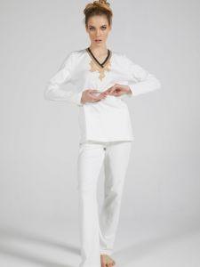 100% Baumwolle Pyjama WKND No. 8 sahneweiß von Verdiani Weekend