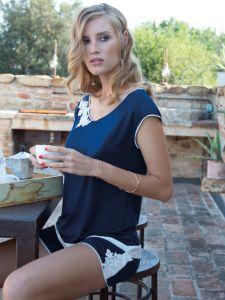 Sommer Pyjama aus Modal in dunkelblau von Chiara Fiorini