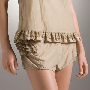 Shorts Angel Flirt khaki aus Seide-Baumwolle Batist von Suite B