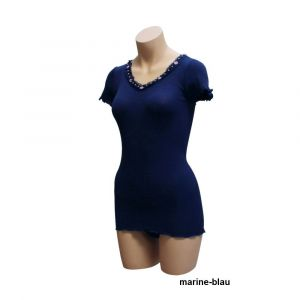 Seide-Baumwolle T-Shirt FIOCCA marine von Gattina