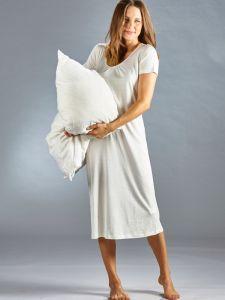 Seide Baumwolle Kurzarm Nachthemd naturweiß von Kokon Zwo
