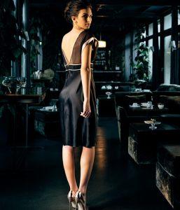 Seidenkleid Piping schwarz von Luna di Seta