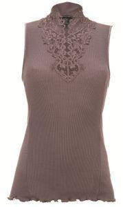 Merinowolle-Seide Shirt Top mit schweizer Spitze von Artimaglia taupe