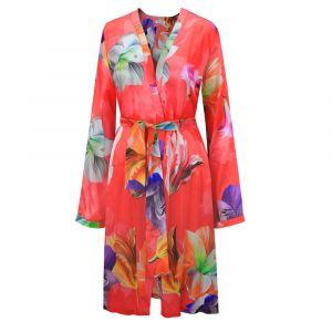 Kimono Seide Flowers himbeer-rot von Eva B. Bitzer