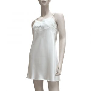 Kurzes Seidennachthemd Tentation - Farbe champagner-weiß 74