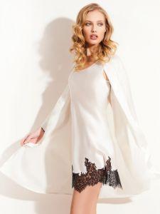 Seide Neglige Seta No. 2 elfenbein weiß mit schwarz von Chiara Fiorini - der Morgenmantel ist nicht im Lieferumfang enthalten