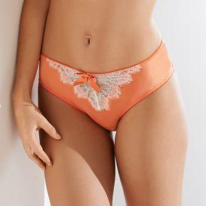 Seide Slip Courtisane apricot mit creme-weißer Spitze von Millesia