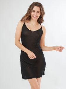 Spaghettiträger Unterkleid schwarz aus 100% Seide von Kokon Zwo