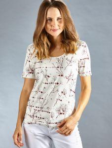 Seide Baumwolle T-Shirt weiß bordeaux von Kokon Zwo