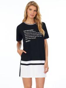 Viscose Sleepshirt Leaving our Mark Schwarz mit Schrift von DKNY Sleepwear