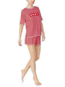 Viscose Sommerpyjama New York Energy rot gestreift von DKNY Sleepwear