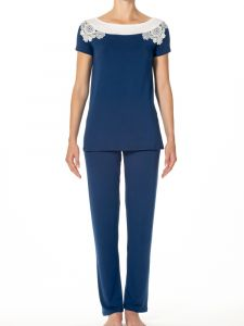 Modal Sommer Pyjama Camilla königsblau sahneweiß von IMEC