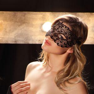 Augenmaske Demi aus schwarzer Häkel-Spitze von Trasparenze