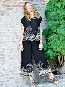 Resortwear Anzug mit Hohlsaum Stickerei schwarz von Chiara Fiorini