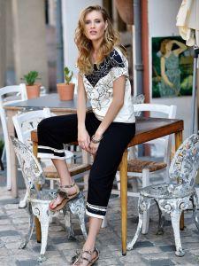 Viscose Jersey Pyjama Schwarz Creme von Chiara Fiorini
