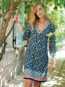 Viscose Strandkleid mit Blumenmuster dunkelblau von Chiara Fiorini