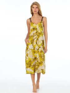 Viscose Kleid gelb beige lang von DKNY Sleepwear