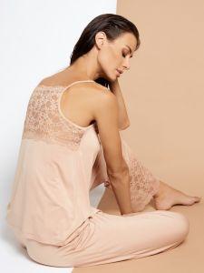 Viscose Sommer Pyjama Alcyone beige mit Spitze von Vivis