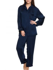Viscose Satin Schlafanzug Luna von Gattina in mitternachts-blau