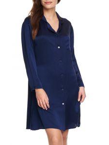 Viscose Satin Sleepshirt Luna von Gattina in mitternachts-blau