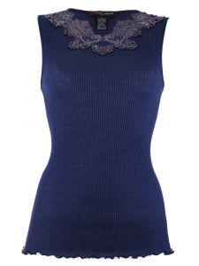 Merinowolle-Seide Shirt Top gerippt von Artimaglia nachtblau